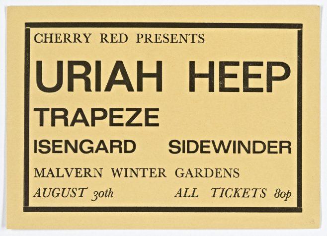 Ticket for Uriah Heep at Malvern Winter Gardens, 30 August 1971