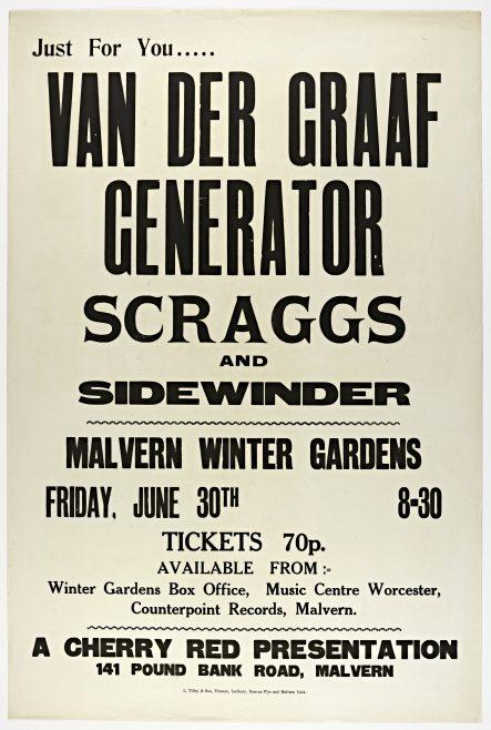 Poster for Van Der Graaf Generator at Malvern Winter Gardens, 30 June 1972