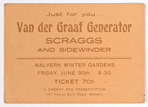 Ticket for Van Der Graaf Generator at Malvern Winter Gardens, 30 June 1972