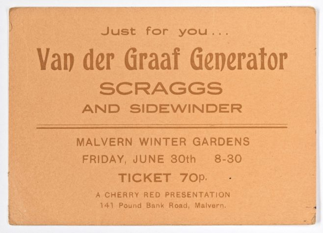 Ticket for Van Der Graaf Generator at Malvern Winter Gardens, 30 June 1972 | Cherry Red Promotions