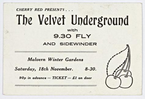 Ticket for The Velvet Underground at Malvern Winter Gardens, 18 November 1972