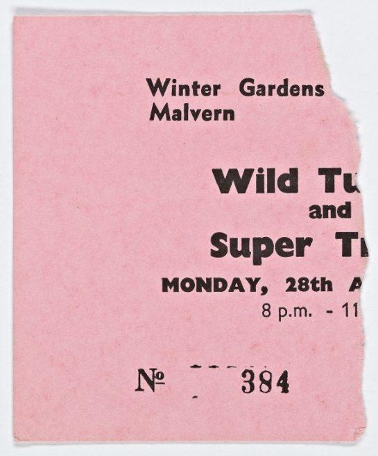 Ticket for Wild Turkey at Malvern Winter Gardens, 28 August 1972 | Plastic Dog Promotions