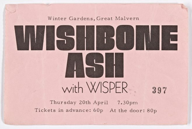 Ticket for Wishbone Ash at Malvern Winter Gardens, 20 April 1972 | Plastic Dog Promotions