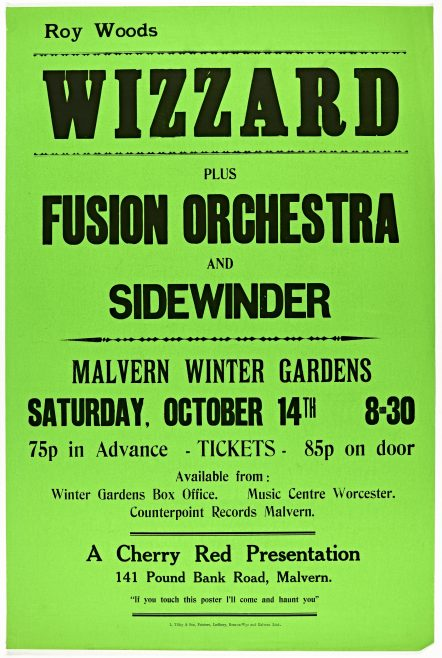 Poster for Wizzard at Malvern Winter Gardens, 14 October 1972