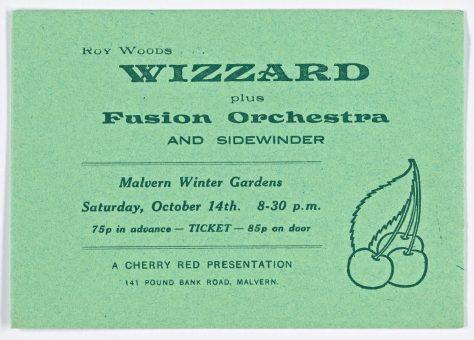 Ticket for Wizzard at Malvern Winter Gardens, 14 October 1972