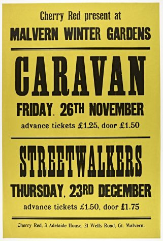 Poster for Caravan and Streetwalkers at Malvern Winter Gardens, 1976