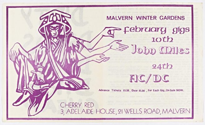 Cherry Red 'fanzine', including adverts for John Miles and AC/DC at Malvern Winter Gardens, February 1977