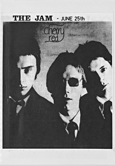 Cherry Red 'fanzine', including listings for Dr Feelgood and Burlesque at Malvern Winter Gardens, May and June 1977