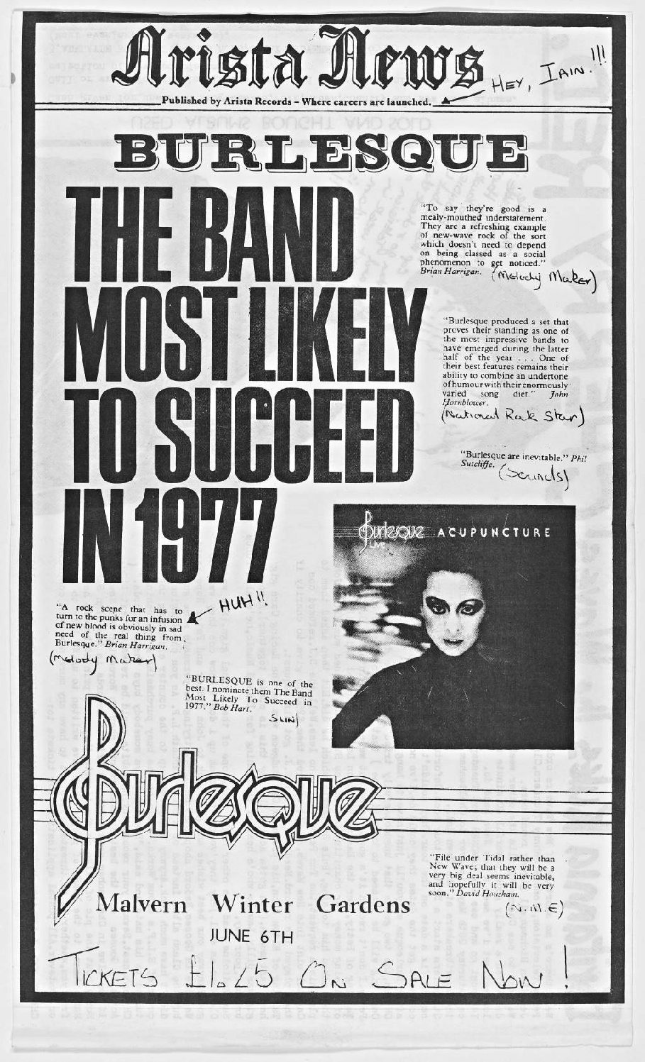 Cherry Red 'fanzine', including advert for Burlesque at Malvern Winter Gardens, 6 June 1977
