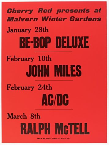 Poster for Cherry Red gigs at Malvern Winter Gardens, January to March 1977