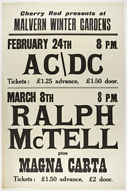 Poster for AC/DC and Ralph McTell at Malvern Winter Gardens, 1977