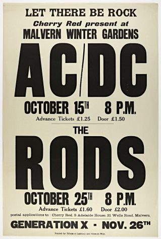 Poster for AC/DC and The Rods at Malvern Winter Gardens, 1977