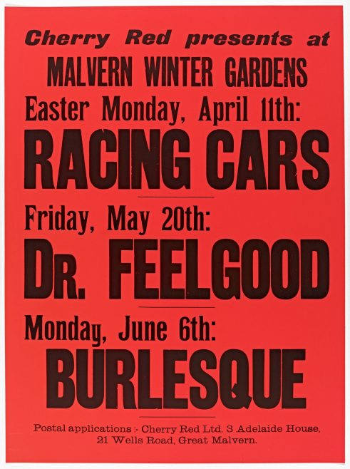 Poster for Cherry Red gigs at Malvern Winter Gardens, April to June 1977