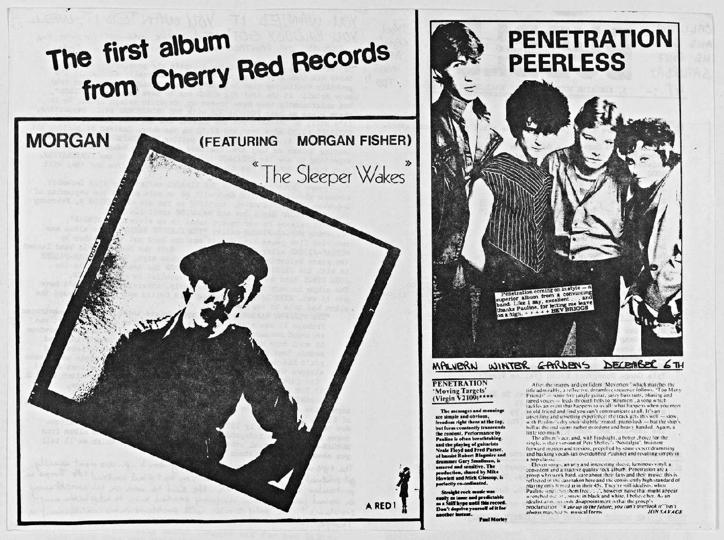 Cherry Red 'fanzine', including advert for Penetration at Malvern Winter Gardens, 6 December 1978