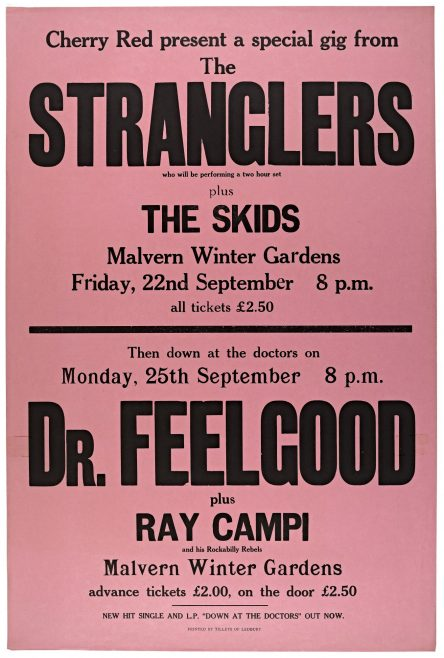 Poster for The Stranglers and Dr Feelgood at Malvern Winter Gardens, 1978