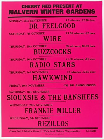 Poster for Cherry Red gigs at Malvern Winter Gardens, September to December 1978