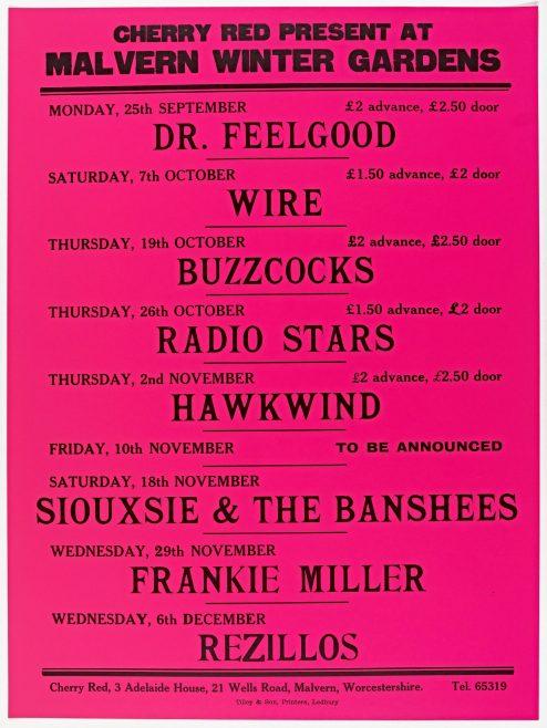 Poster for Cherry Red gigs at Malvern Winter Gardens, September to December 1978