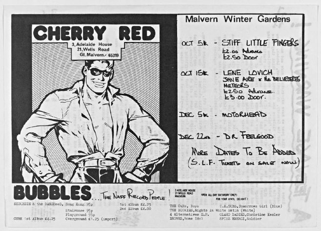 Cherry Red 'fanzine', including listings for Stiff Little Fingers, Lene Lovich, Motorhead and Dr Feelgood at Malvern Winter Gardens, October to December 1979