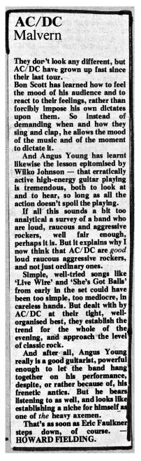 Newspaper cutting from the Malvern Gazette about AC/DC at Malvern Winter Gardens, 24 February 1977