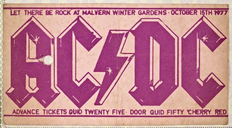 Ticket for AC/DC at Malvern Winter Gardens, 15 October 1977