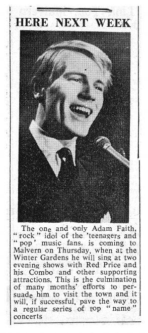 Newspaper cutting from the Malvern Gazette about Adam Faith at Malvern Winter Gardens, 28 December 1961