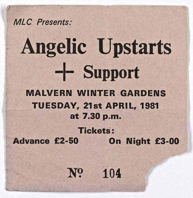 Ticket for The Angelic Upstarts at Malvern Winter Gardens, 21 April 1981
