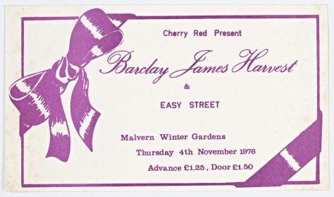 Ticket for Barclay James Harvest at Malvern Winter Gardens, 4 November 1976
