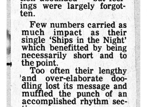 Newspaper cutting from the Malvern Gazette about Be Bop Deluxe at Malvern Winter Gardens, 28 January 1977