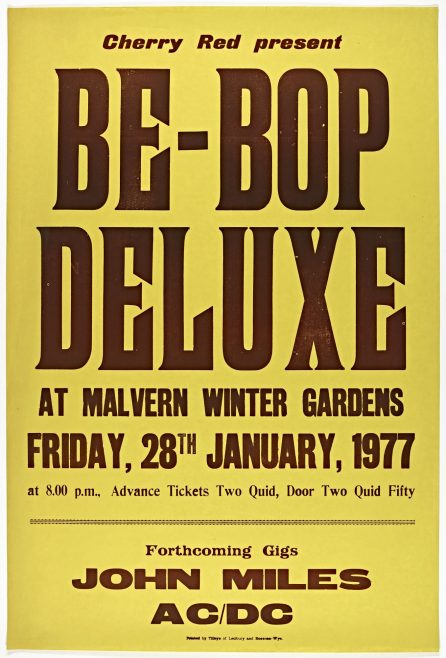 Poster for Be Bop Deluxe at Malvern Winter Gardens | Cherry Red Promotions