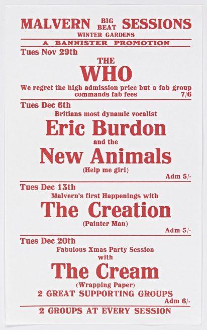Flyer for Malvern Big Beat Sessions, November-December 1966
