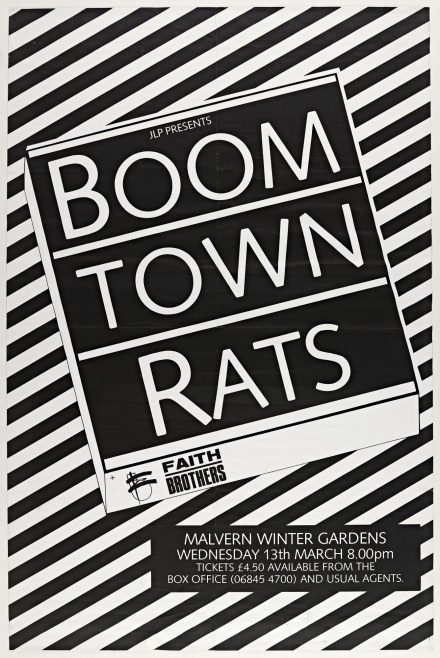 Poster for The Boomtown Rats at Malvern Winter Gardens, 13 March 1985