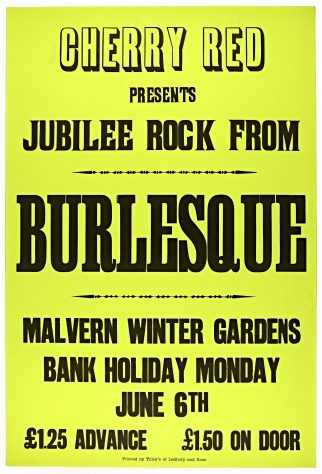 Poster for Burlesque at Malvern Winter Gardens, 6 June 1977
