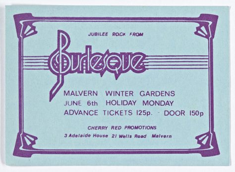 Ticket for Burlesque at Malvern Winter Gardens, 6 June 1977