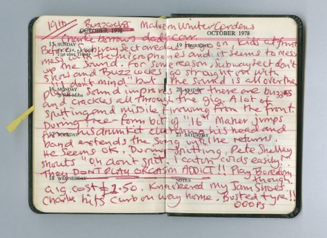 Diary entry for Buzzcocks at Malvern Winter Gardens, 19 October 1978