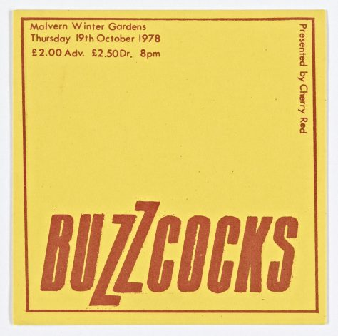 Ticket for Buzzcocks at Malvern Winter Gardens, 19 October 1978