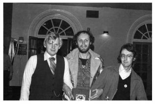 From left to right: Will Atkinson, Iain McNay and Richard Jones of Cherry Red Promotions at Malvern Winter Gardens, 1977 | unknown photographer