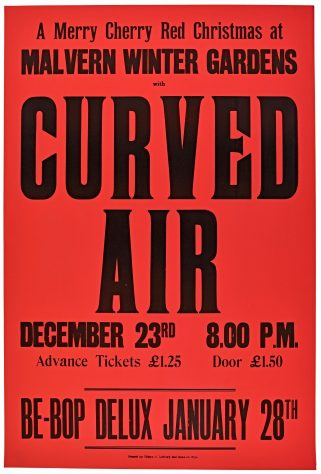 Poster for Curved Air at Malvern Winter Gardens, 23 December 1976