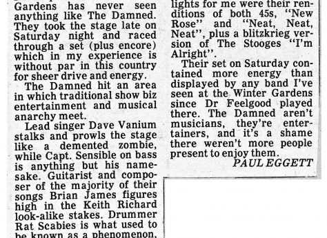 Newspaper cutting from the Malvern Gazette about The Damned at Malvern Winter Gardens, 26 March 1977