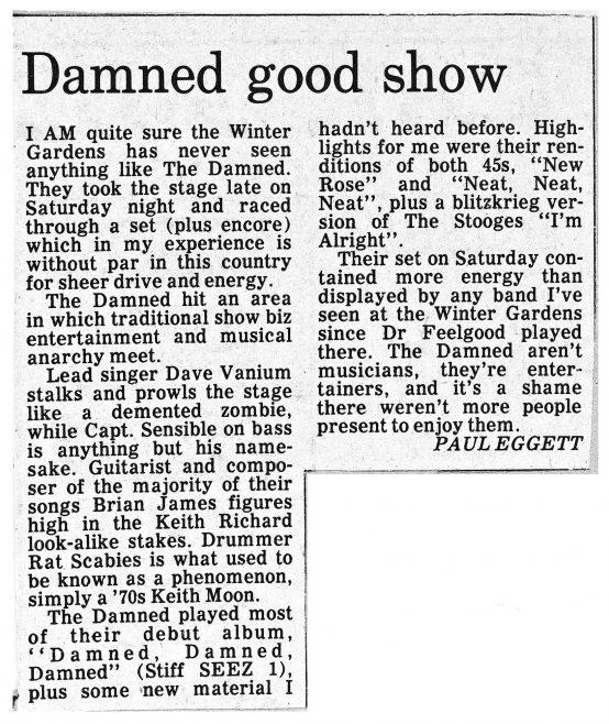 Newspaper cutting from the Malvern Gazette about The Damned at Malvern Winter Gardens | Malvern Gazette