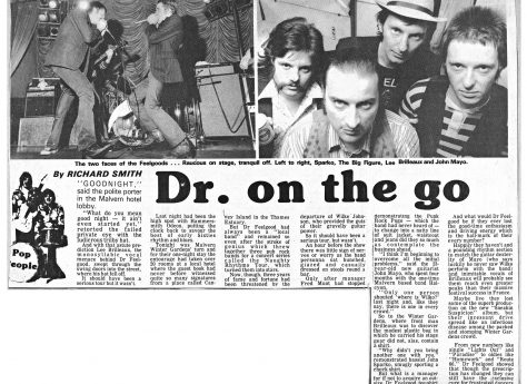 Newspaper cutting from the Malvern Gazette about Dr Feelgood at Malvern Winter Gardens, 20 May 1977
