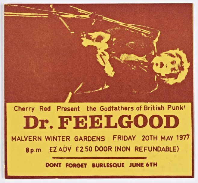 Ticket for Dr Feelgood at Malvern Winter Gardens, 20 May 1977
