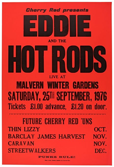 Poster for Eddie and The Hot Rods at Malvern Winter Gardens, 25 September 1976
