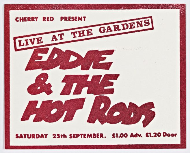 Ticket for Eddie and The Hot Rods at Malvern Winter Gardens, 25 September 1976