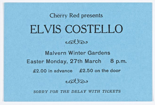Ticket for Elvis Costello at Malvern Winter Gardens | Cherry Red Promotions