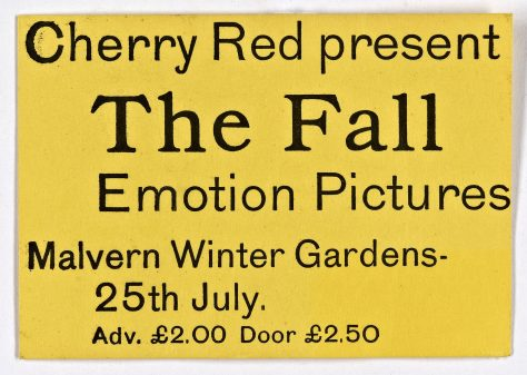 Ticket for The Fall at Malvern Winter Gardens, 25 July 1980