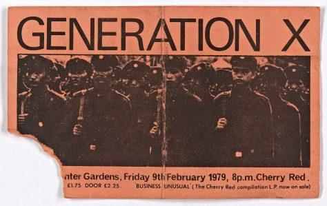 Ticket for Generation X at Malvern Winter Gardens, 9 February 1979