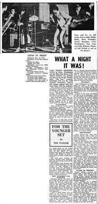 Newspaper cutting from the Malvern Gazette about Geno Wasington and the Ram Jam Band  at Malvern Winter Gardens | Malvern Gazette