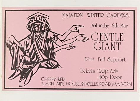 Flyer for Gentle Giant at Malvern Winter Gardens, 8 May 1976