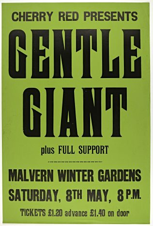 Poster for Gentle Giant at Malvern Winter Gardens | Cherry Red Promotions