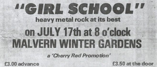 Poster for Girlschool at Malvern Winter Gardens, 17 July 1981